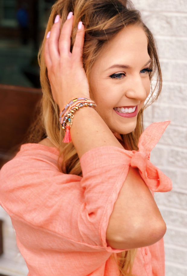 Luciana Bracelet Set in Coral