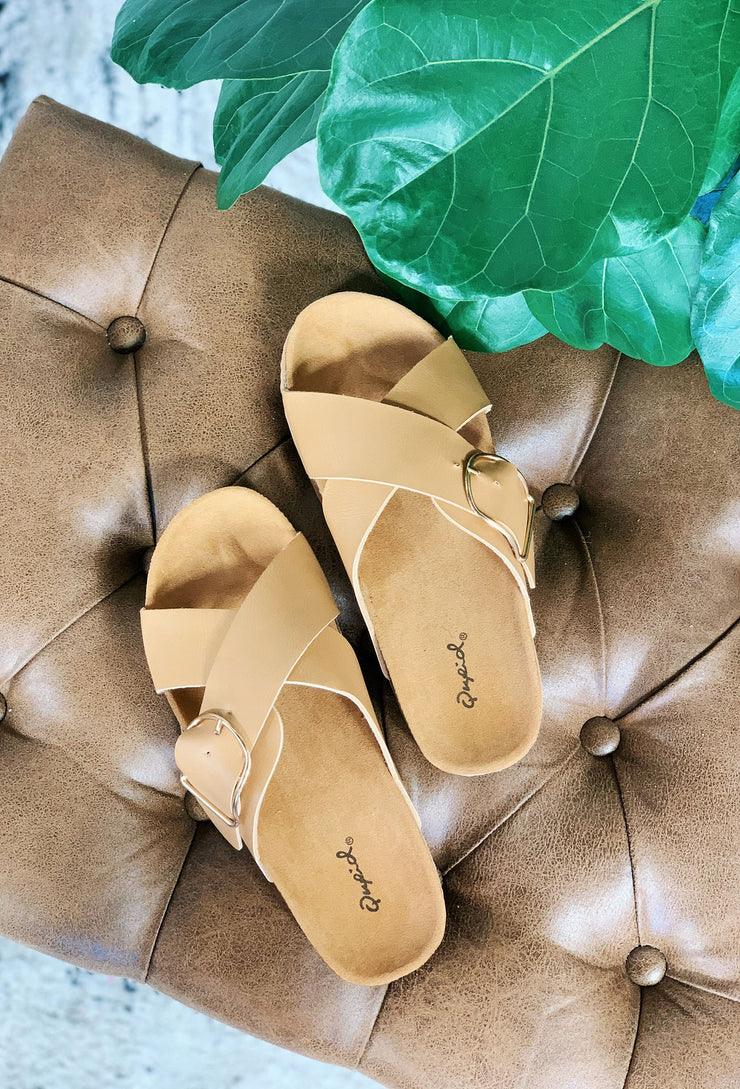 Luka Crossover Sandals in Tan, brown criss cross buckle slides