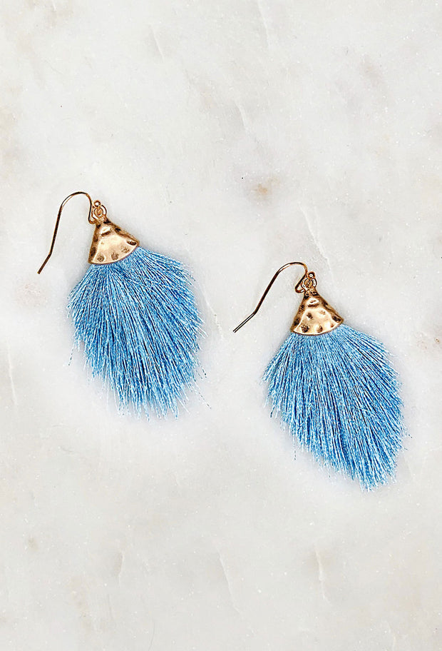 Luna Fringe Earrings in Periwinkle, periwinkle blue colored threaded fringe tassel on brushed gold hardware and hook backing