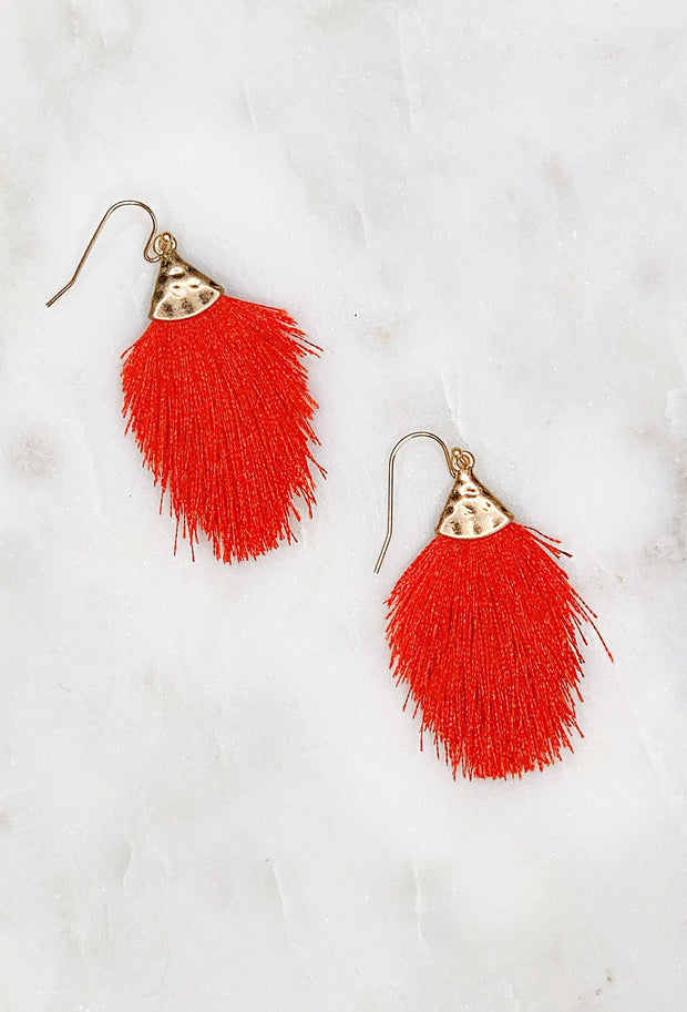 Luna Fringe Earrings in Red, red colored threaded fringe tassel on brushed gold hardware and hook backing