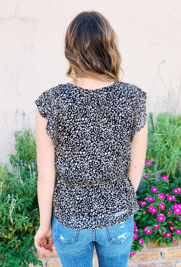 Lyon Leopard Blouse, chiffon peplum leopard blouse with elastic waist and ruffle capped sleeves