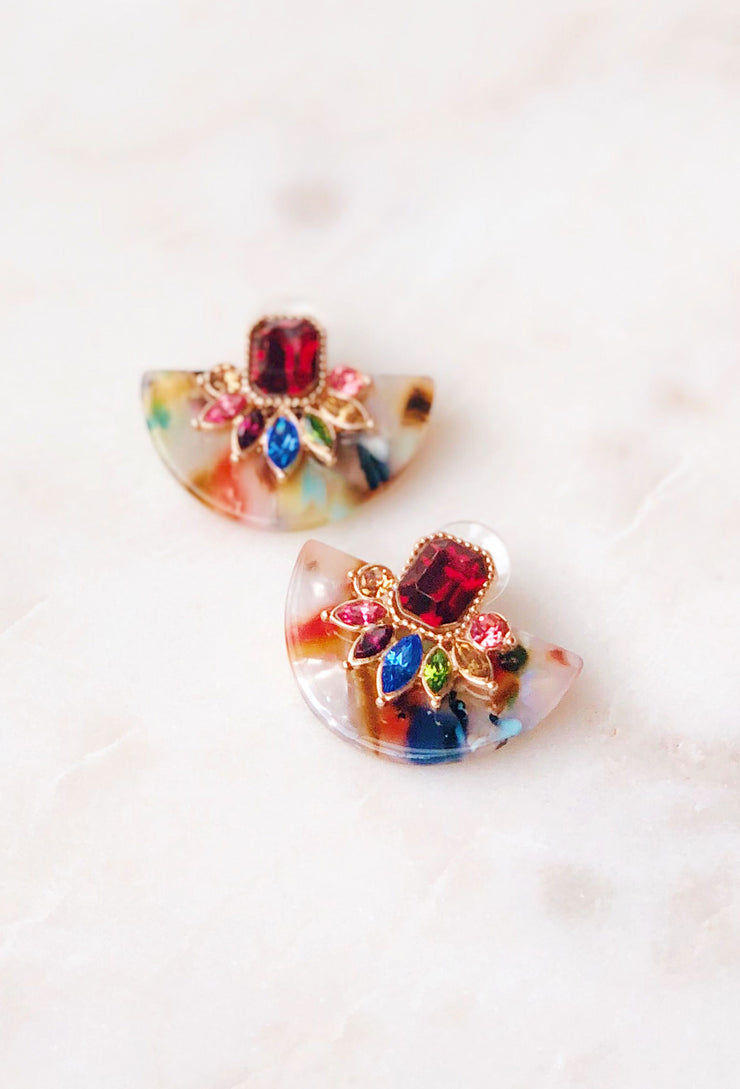 Magen Multi-Crystal Resin Earrings, colorful resin backs a multi-shaped and colored crystal pendant
