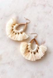 Mali Teardrop Tassel Earrings in Ivory