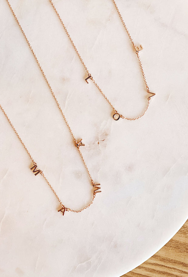 Mama & Love Dainty Gold Necklace, mama and love initial chain dainty necklace, gold mama letter necklace, gold love letter necklace