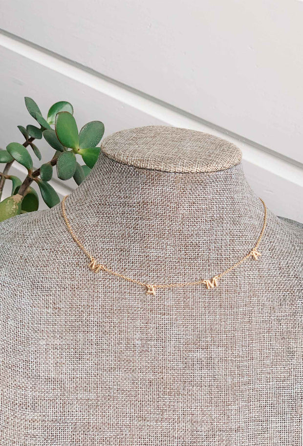 Mama & Love Dainty Gold Necklace, mama and love initial chain dainty necklace