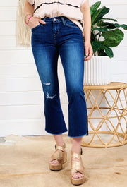 Manhattan Mid Rise Cropped Flair Jean, dark denim flying monkey cropped jeans with distressing on right leg