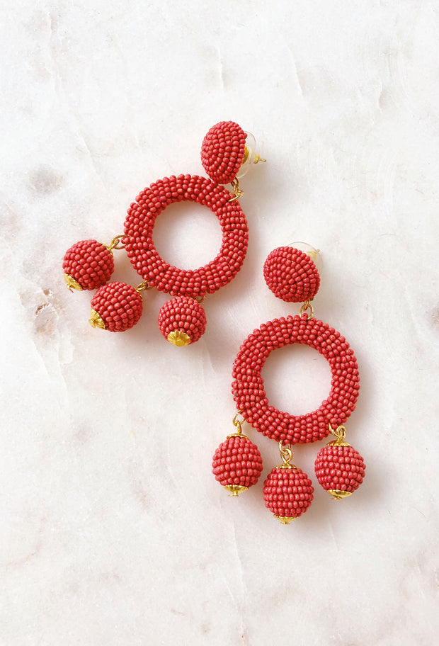 Margot Beaded Drop Earrings in Clay Red