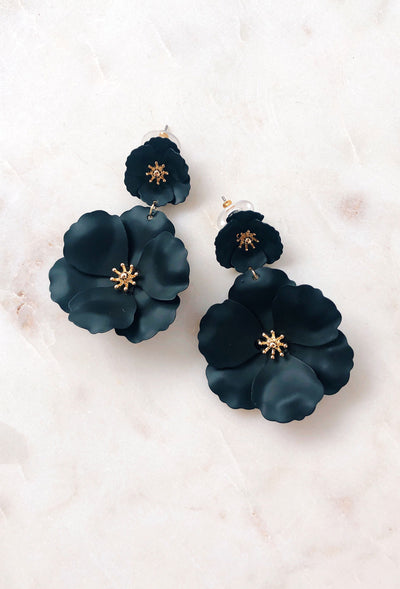 Marilene Flower Earrings in Black