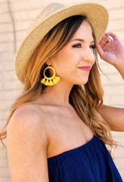 Marinella Tassel Hoop Earrings in Yellow