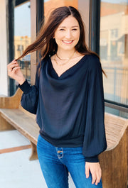 Marisol Cowl Neck Blouse in Black, silky black blouse with slinky cowl neck and smocked wrists