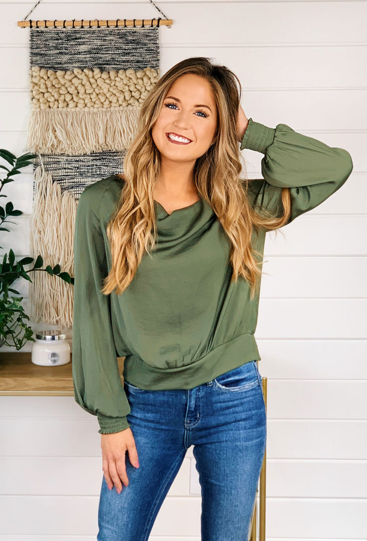 Marisol Cowl Neck Blouse in Olive, sage green silky cowl neck long sleeve blouse with smocked wrists