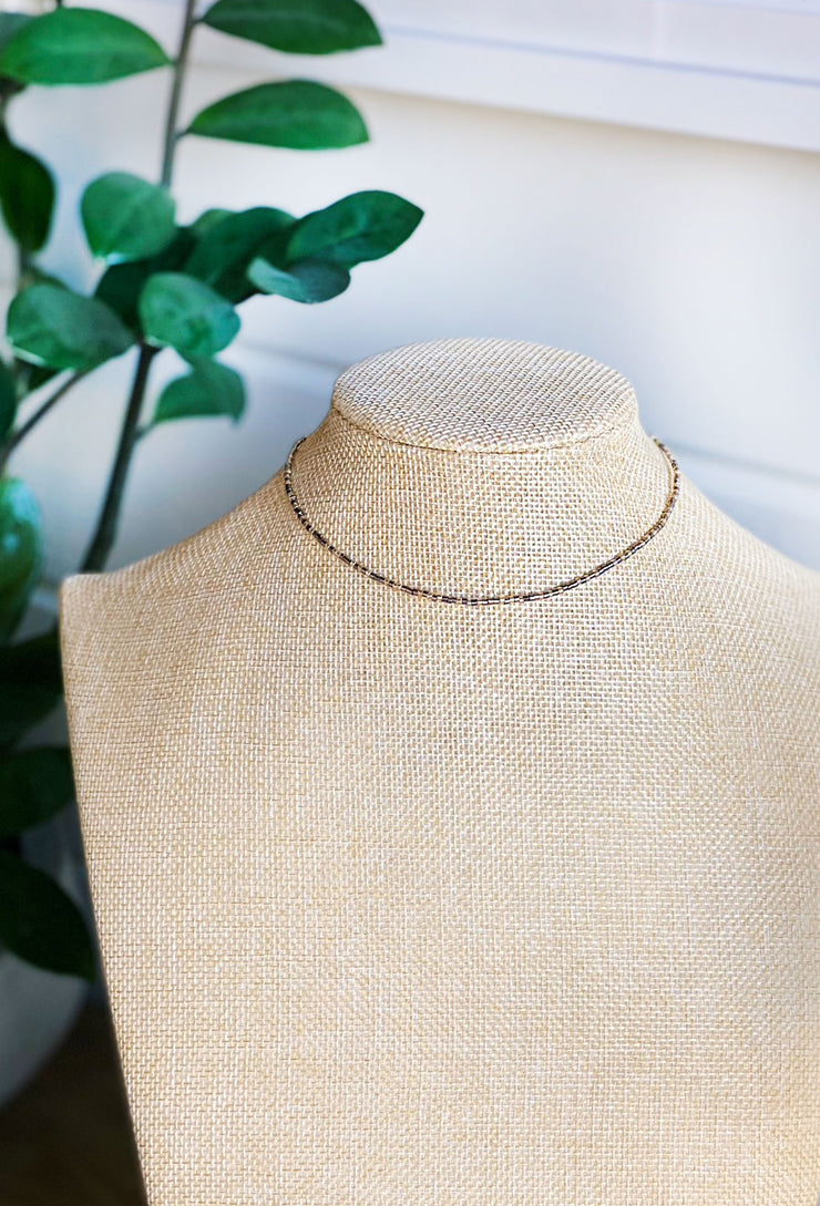Marrin Grey Beaded Choker, grey small beaded choker necklace
