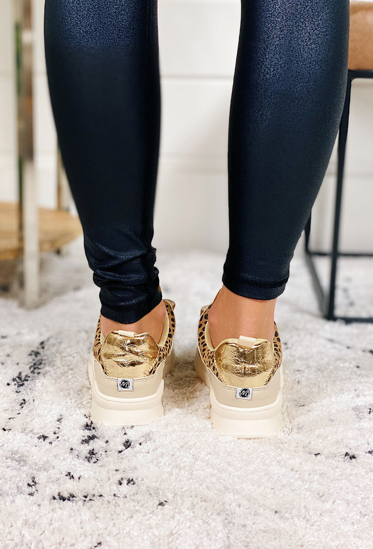 Matisse Behave Sneaker, leopard print sneakers with cream suede and marigold velvet detailing