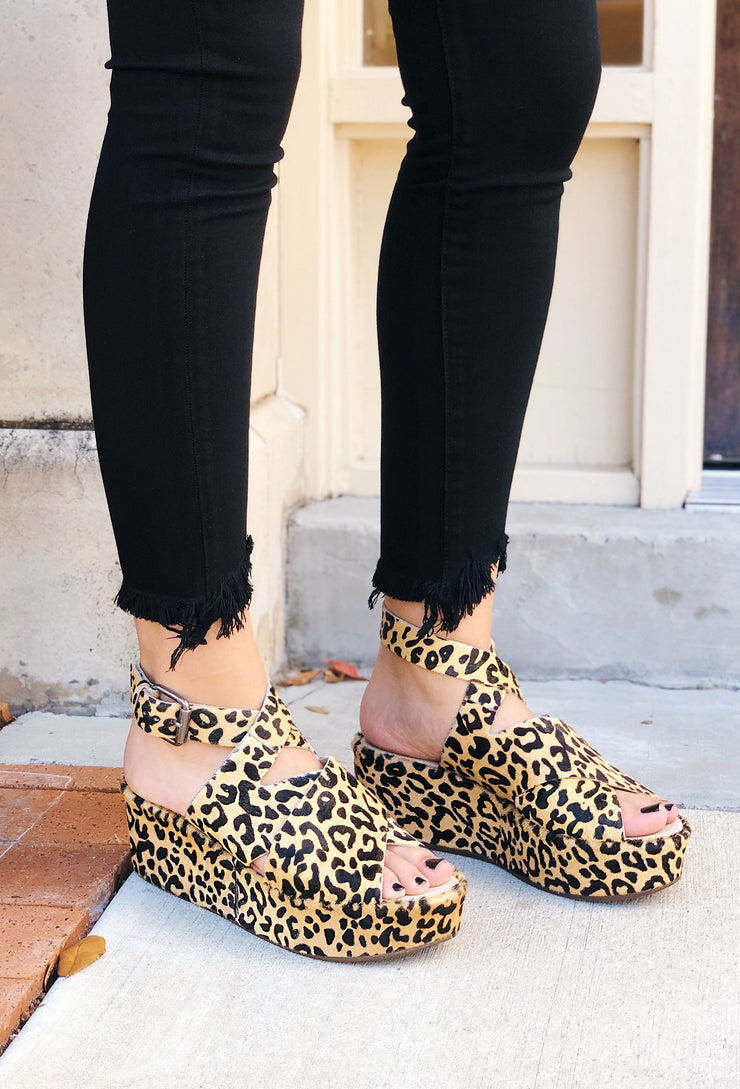Runaway Platform Sandals in Leopard, cow hair and leather platform sandals