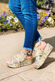 Matisse Runaway Platform Sandals in Multi Snake, floating ankle strap platform sandals in multi snake print