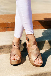 Matisse Runaway Platform Sandals in Rose Gold Snake, floating ankle strap platform sandals in a rose gold snake print