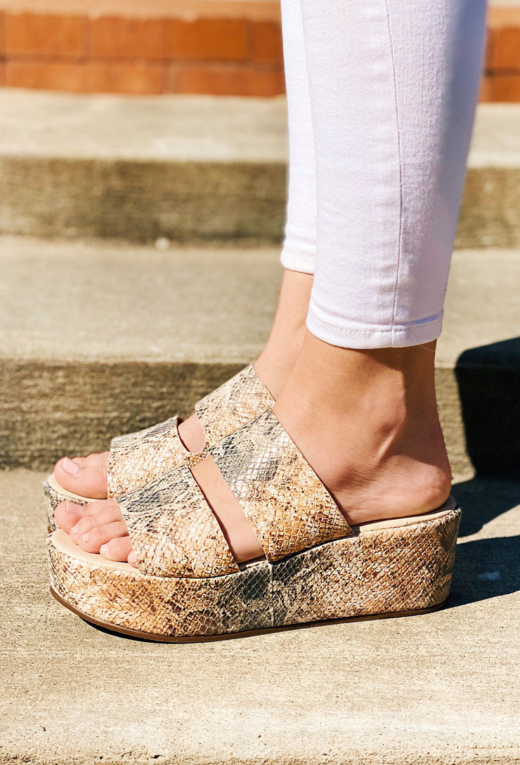 Matisse Struttin Platform Wedge in White Multi Snake, two strap platform wedge in white snake print