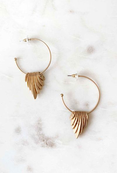 Matte Gold Coin Hoop Earrings, gold hoop earrings with oval coins stacked together