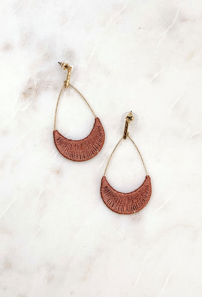 Tearney Earrings in Metallic Rose, mauve threaded tear drop hoop earrings