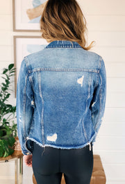 Medium Wash Denim Jacket, distressed raw hem denim jacket from vervet