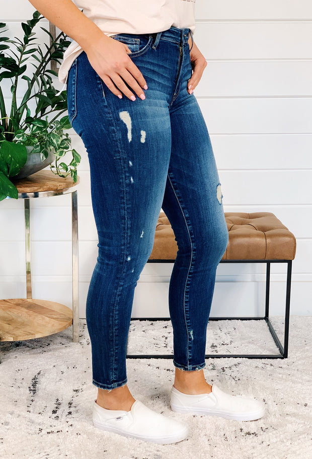 Mid Rise Crop Skinny Jeans, dark wash skinny jean with light distressing