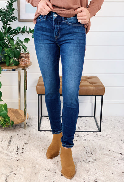 Mid Rise Ankle Skinny Jeans by Vervet, dark wash non distressed skinny jeans