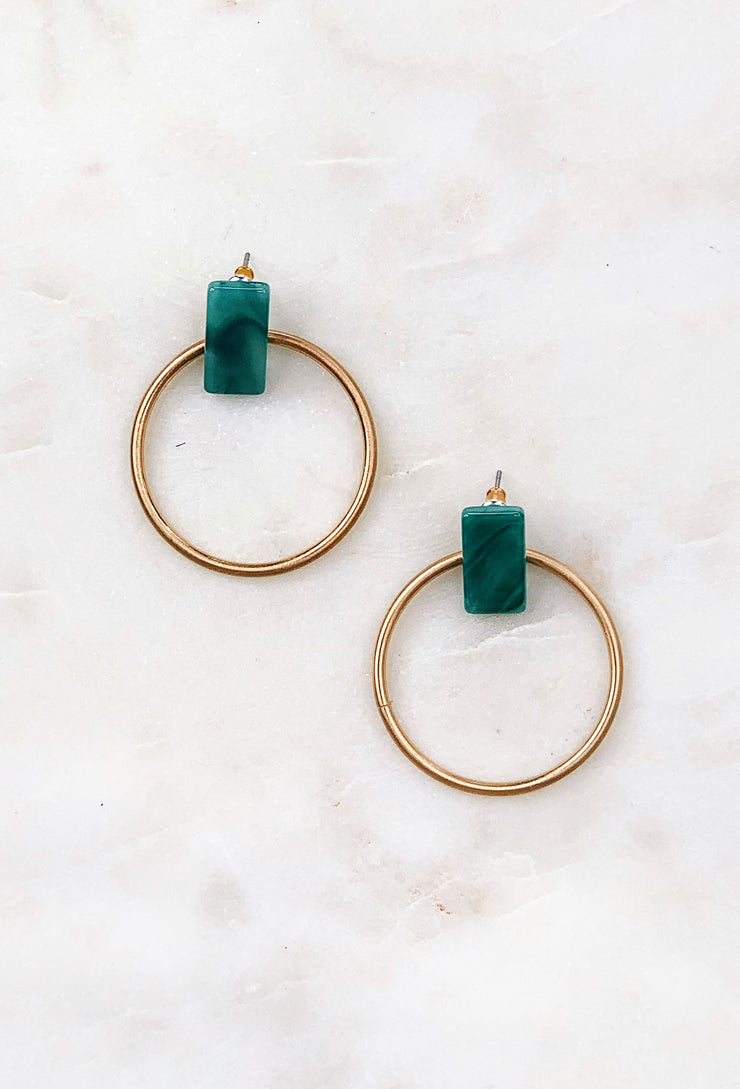 Miley Front Facing Earrings in Jade, gold hoop earrings with a front facing resin jade colored stone on the front