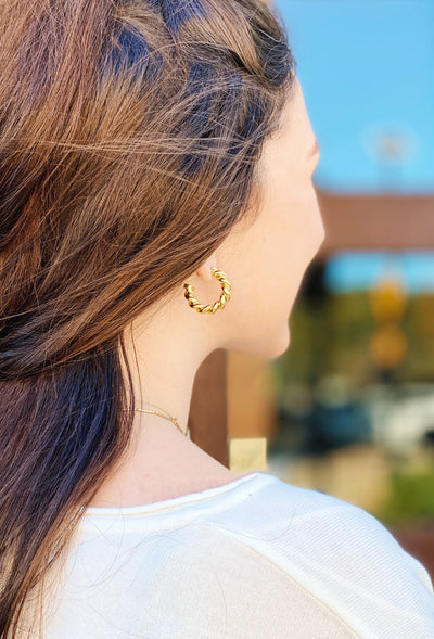 Mini Twisted Hoop Earrings, gold twisted small hoop earrings on post backing