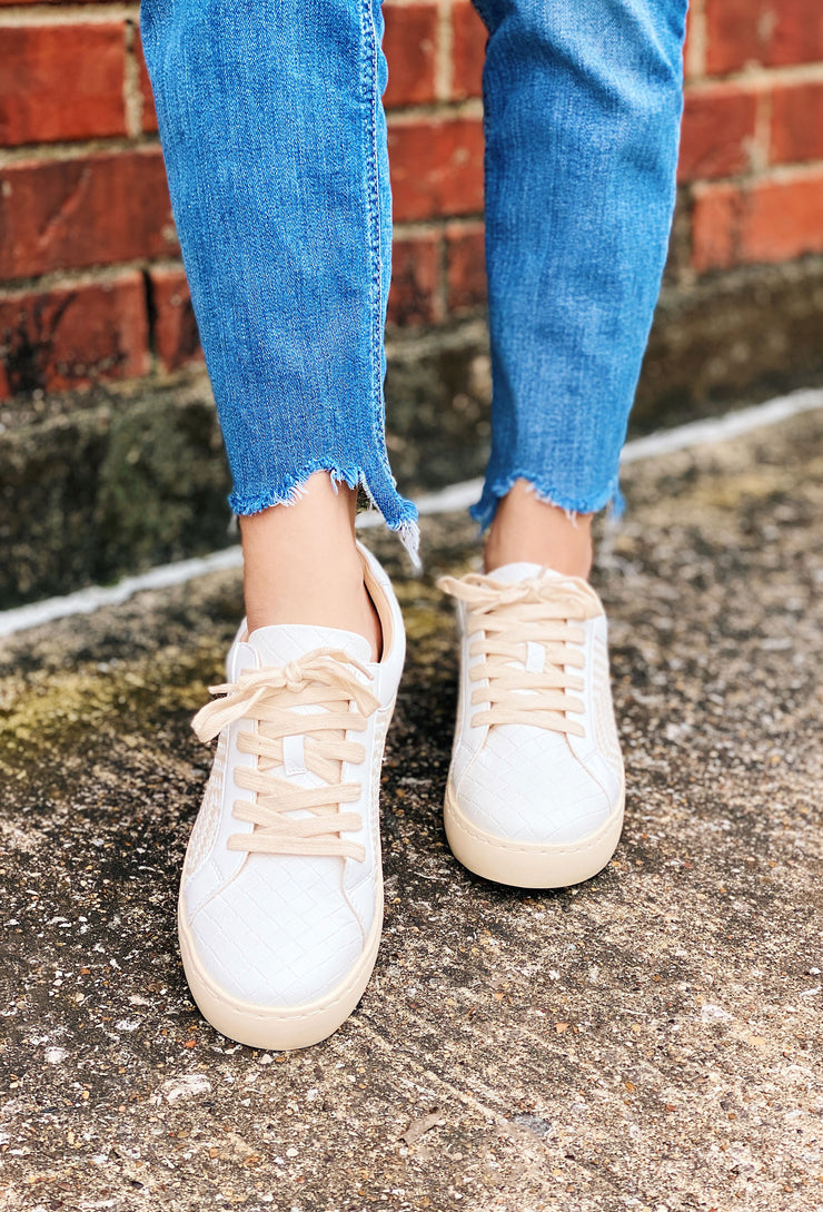 Miracle Mile Heather Sneaker, white and tan woven sneakers