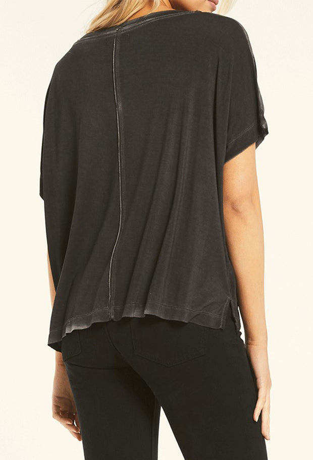 Z SUPPLY Mischa Sleek V-Neck Tee in Black, light washed black soft relaxed fit slightly cropped tee