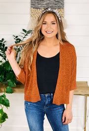 Mollie Cropped Knit Cardigan in Copper, cropped light weight threaded knit cardigan with 3/4 sleeves