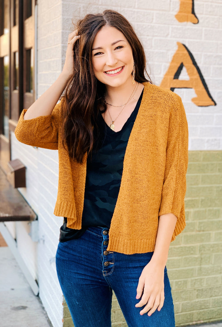 Mollie Cropped Knit Cardigan in Marigold, mustard knit cropped cardigan with 3/4 length sleeves