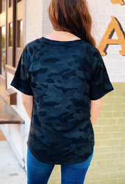 Another Love Black Camo Taylor Top, faux suede textured Camo tee \