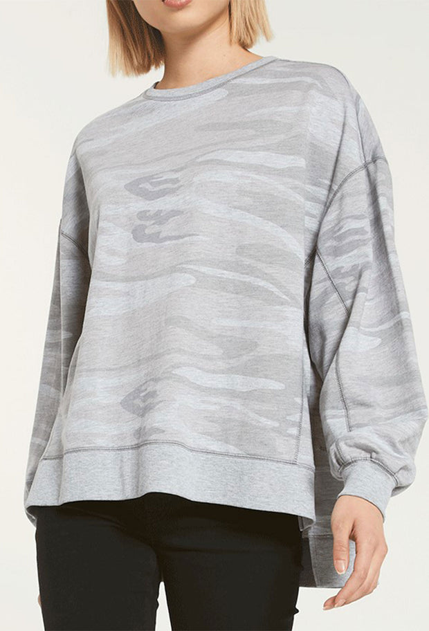 Z SUPPLY Modern Camo Weekender in Heather Grey Camo, long sleeve gray camo sweatshirt