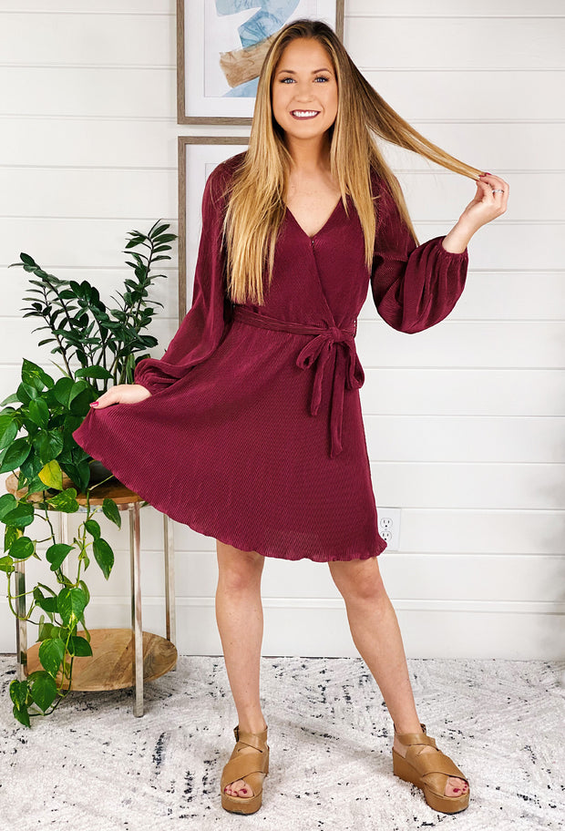 Myah Burgundy Pleated Dress, wine colored pleated tie front long sleeve dress