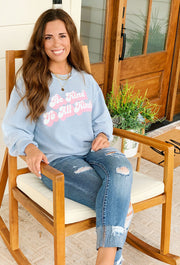 NOON:30 Be Kind to All Kinds Corded Crewneck Sweatshirt, blue & pink graphic corded sweatshirt