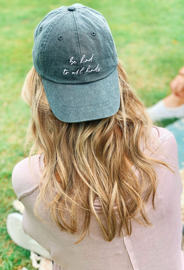 NOON:30 Be Kind to All Kinds Charcoal Hat with white script embroidery, kindness hat