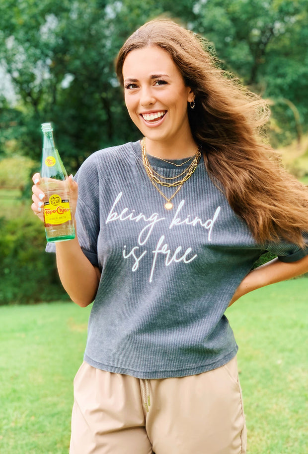 NOON:30 Being Kind is Free Corded Boyfriend Tee, short sleeve corded crew boyfriend tee, be kind graphic