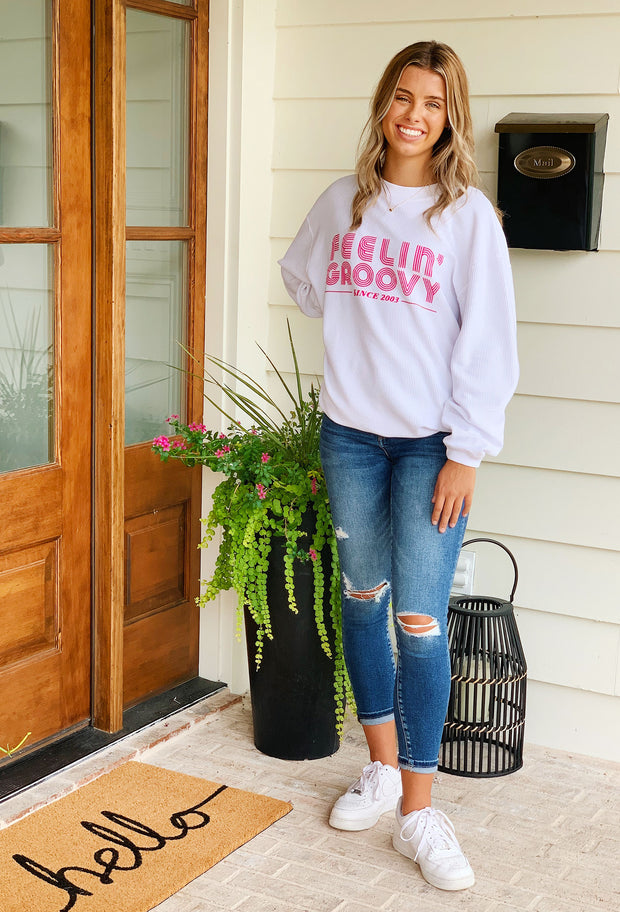 NOON:30 Feelin' Groovy Corded Sweatshirt, white corded sweatshirt with hot pink text, feeling groovy sweatshirt
