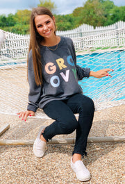 NOON:30 Stacked Groovy Corded Sweatshirt, gray corded crew sweatshirt with multicolor groovy graphic