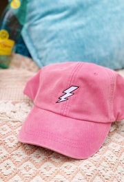 NOON:30 Lightning Bolt Hat, pink baseball cap with lightning bolt