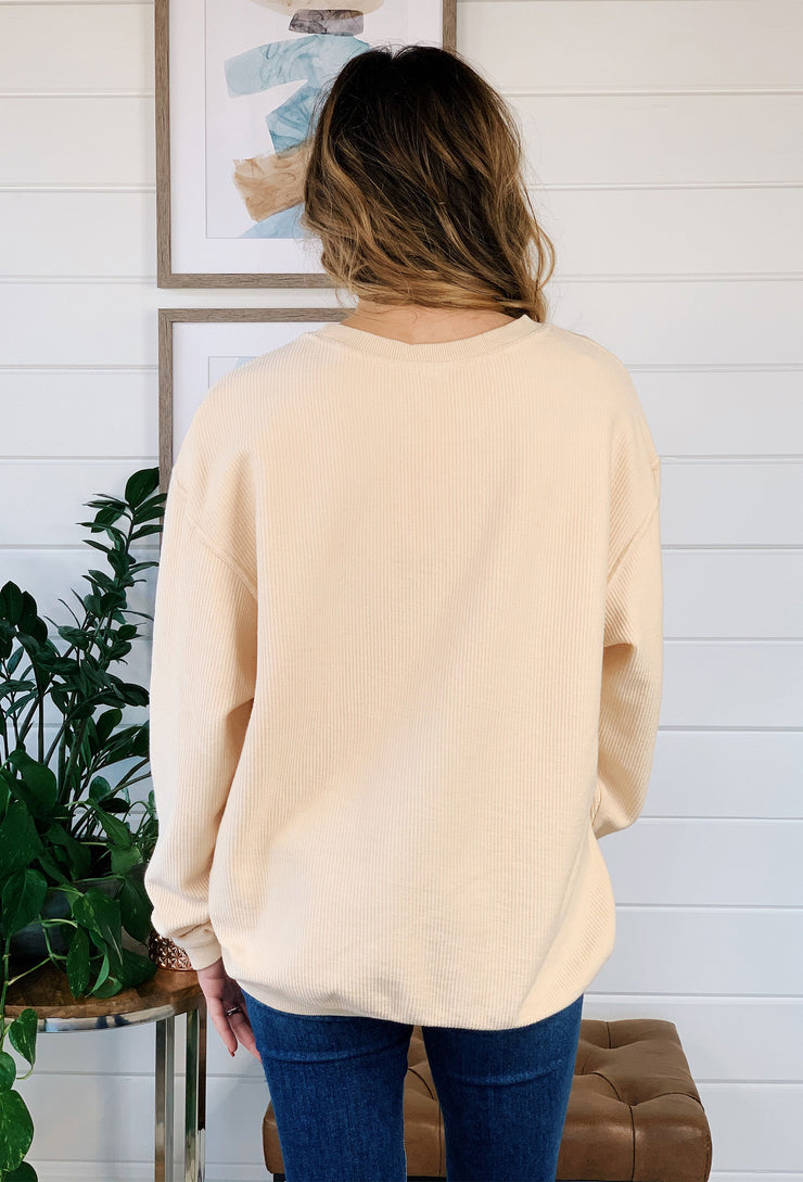 NOON:30 Living On The Bright Side Corded Sweatshirt, pastel yellow corded crew with coral and white  graphic on the front