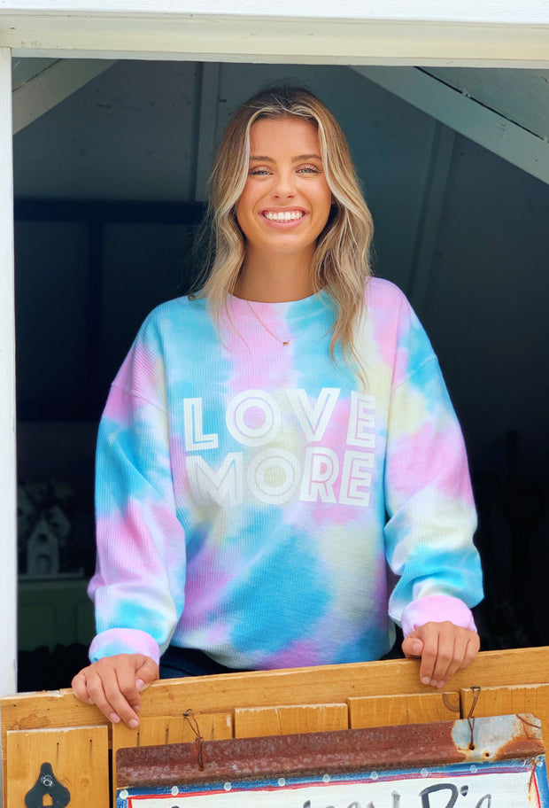 NOON:30 Love More Corded Sweatshirt, tie dye corded sweatshirt