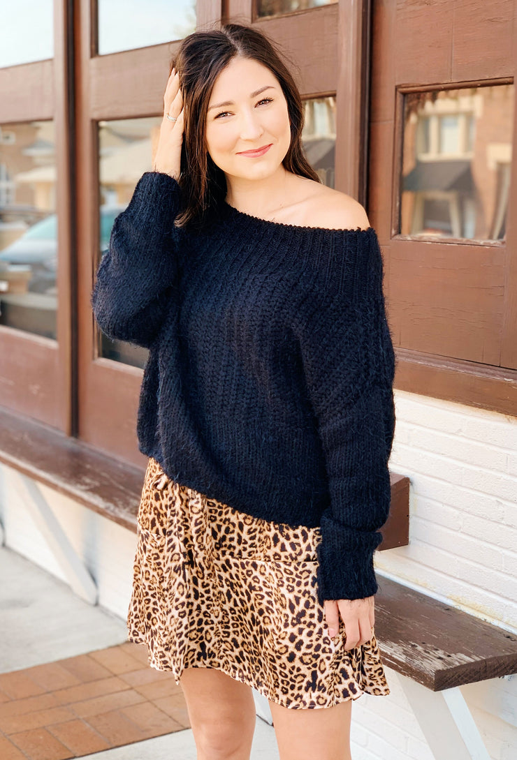 Nadia Fuzzy Cable Knit Sweater in Black, black off the shoulder fuzzy sweater