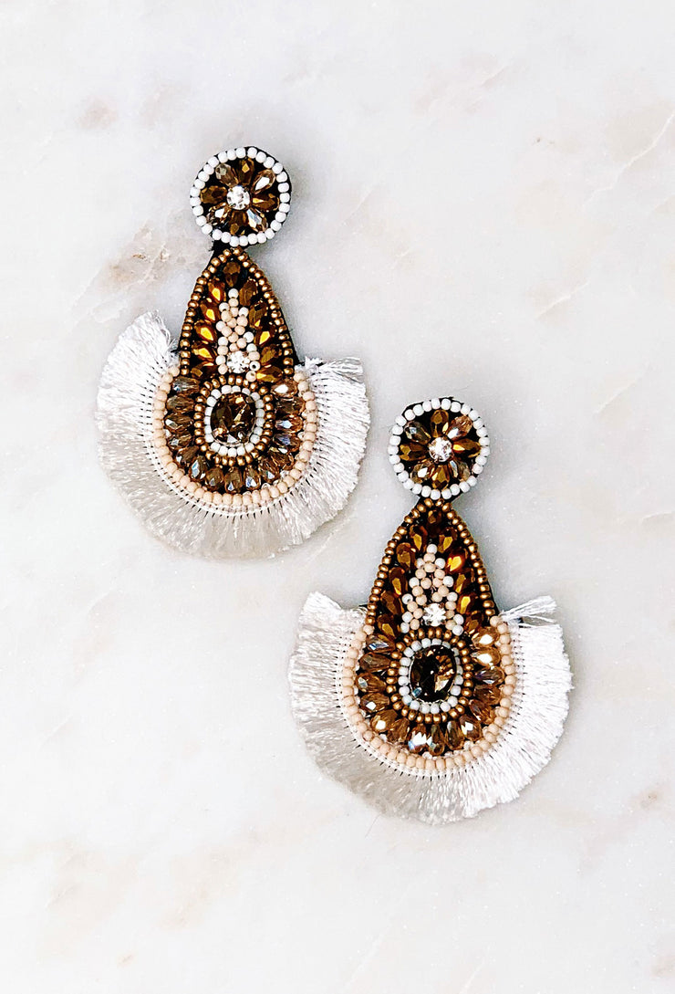 Nalia Fringe Statement Earrings, white fringe statement earrings with gold and bronze beading