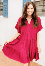 Nikoleta Linen Shirtdress in Berry, linen shortsleeve shirt dress in red with a collar
