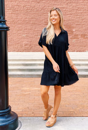 Nikoleta Linen Shirtdress in Black, black linen tiered shirt dress with collar