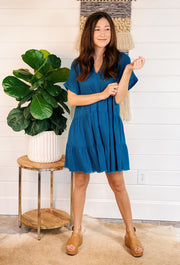 Nikoleta Linen Shirtdress in Dark Teal, blue linen tiered dress with short sleeves and a collar