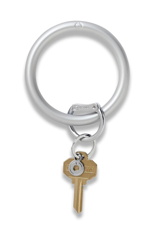 O-Venture Silicone Key Ring in Quicksilver, all silver metallic o-venture wrist key ring