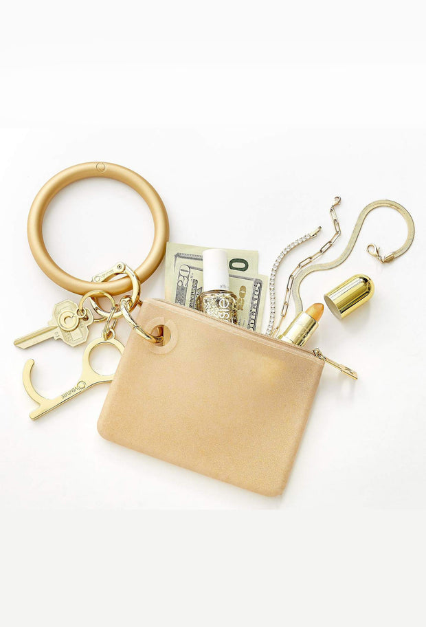 O-Venture Mini Silicone Pouch in Gold Rush Confetti, gold mini silicone id key pouch